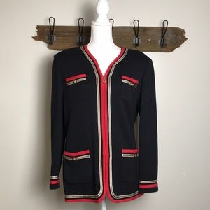St. John Cardigan Knit Sweater Zip Front Size 10